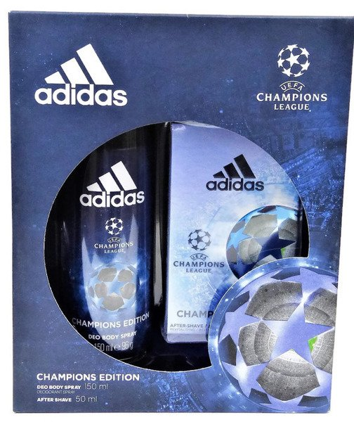 ADIDAS UEFA CHAMPIONS LEAGUE WODA PO GOLENIU 100ML + DEZODORANT SPRAY 150ML